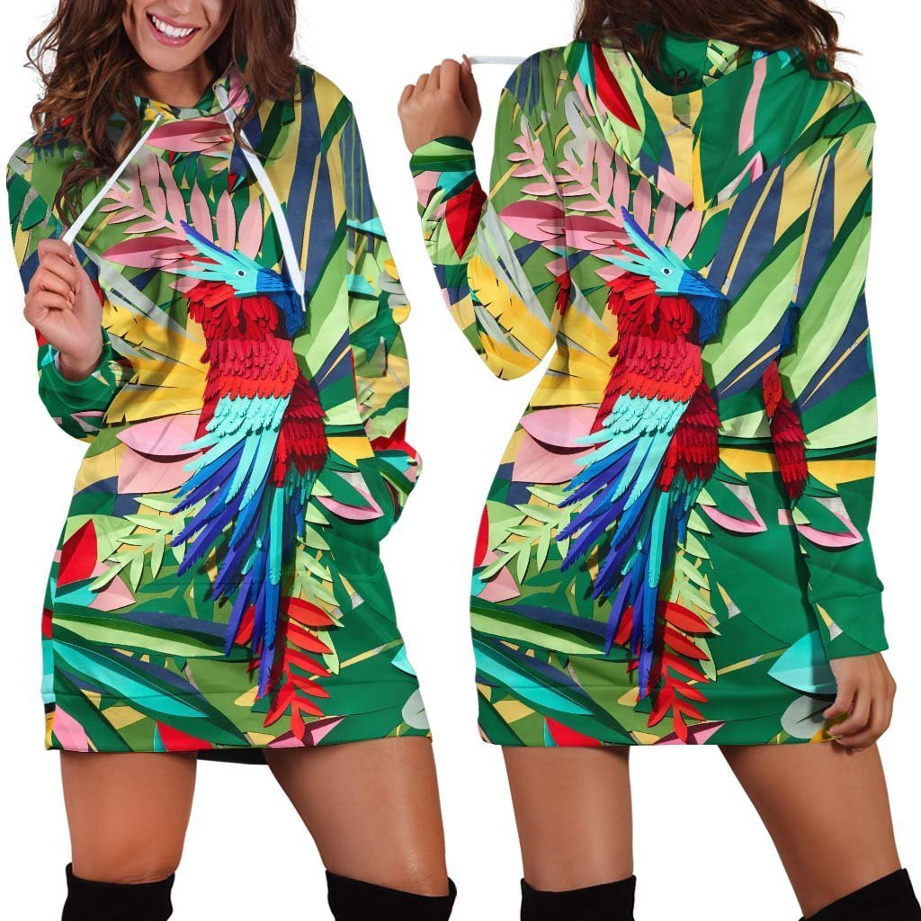 All Over Printed Parrot PHL1150 Hoodie Dress - Amaze Style™-Apparel