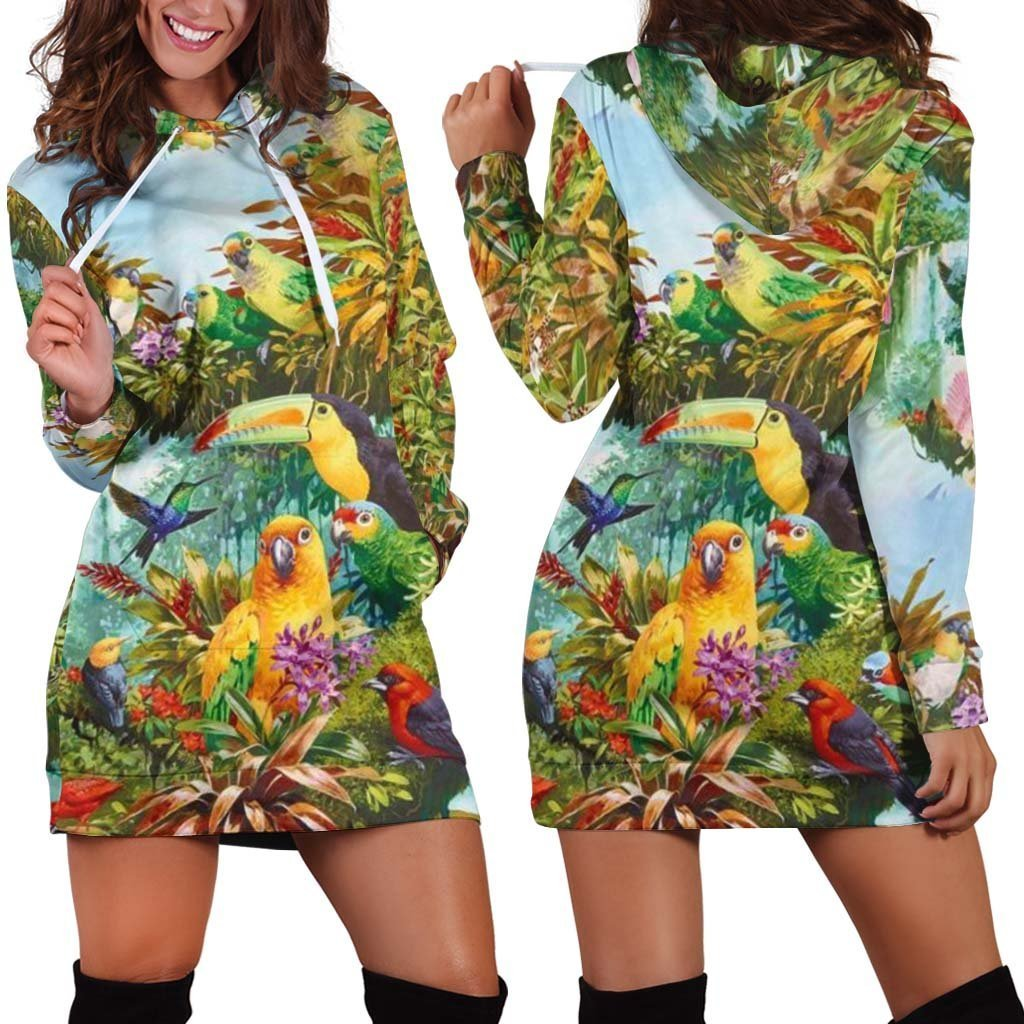 3D Printed Parrots Tops Hoodie Dress - Amaze Style™-Apparel