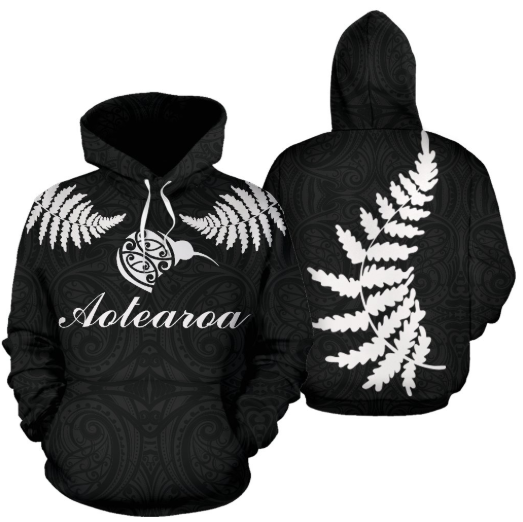 Aotearoa-New Zealand Hoodie Silver Fern Kiwi Patterns Maori TH5 - Amaze Style™-Apparel