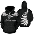 Aotearoa-New Zealand Hoodie Silver Fern Kiwi Patterns Maori PL - Amaze Style™-Apparel