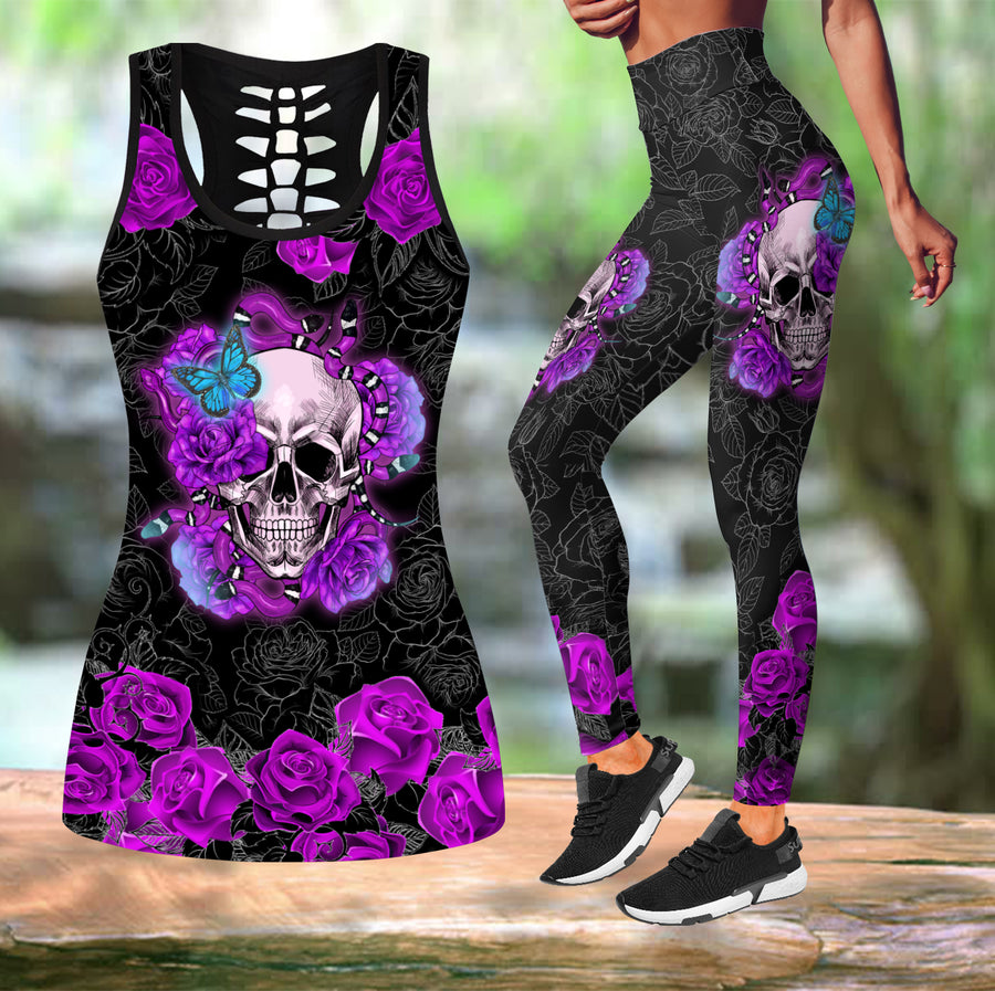 Skull Rose tanktop & legging outfit for women - Amaze Style™-Apparel