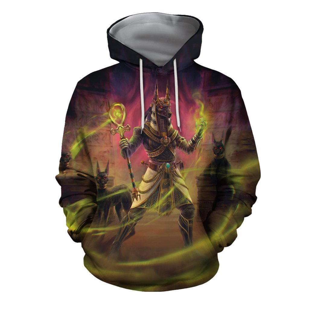 3D All Over The Egyptian gods Anubis Hoodie - Amaze Style™-Apparel