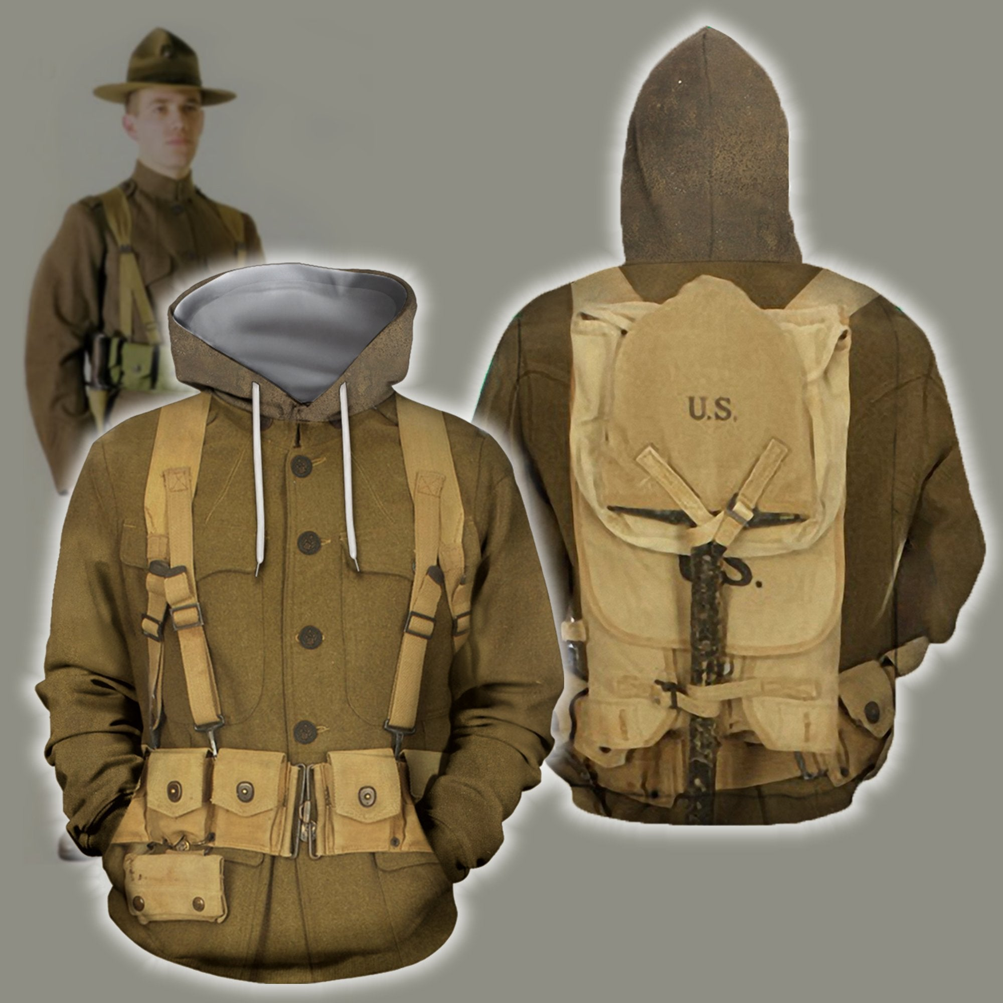 3D All Over Printed U.S. WWI Soldier Shirts - Amaze Style™-Apparel
