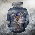 3D All Over Printed American flag reindeer Hoodie - Amaze Style™