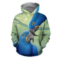 3D All Over Print Parrot Blue Love Hoodie - Amaze Style™-Apparel