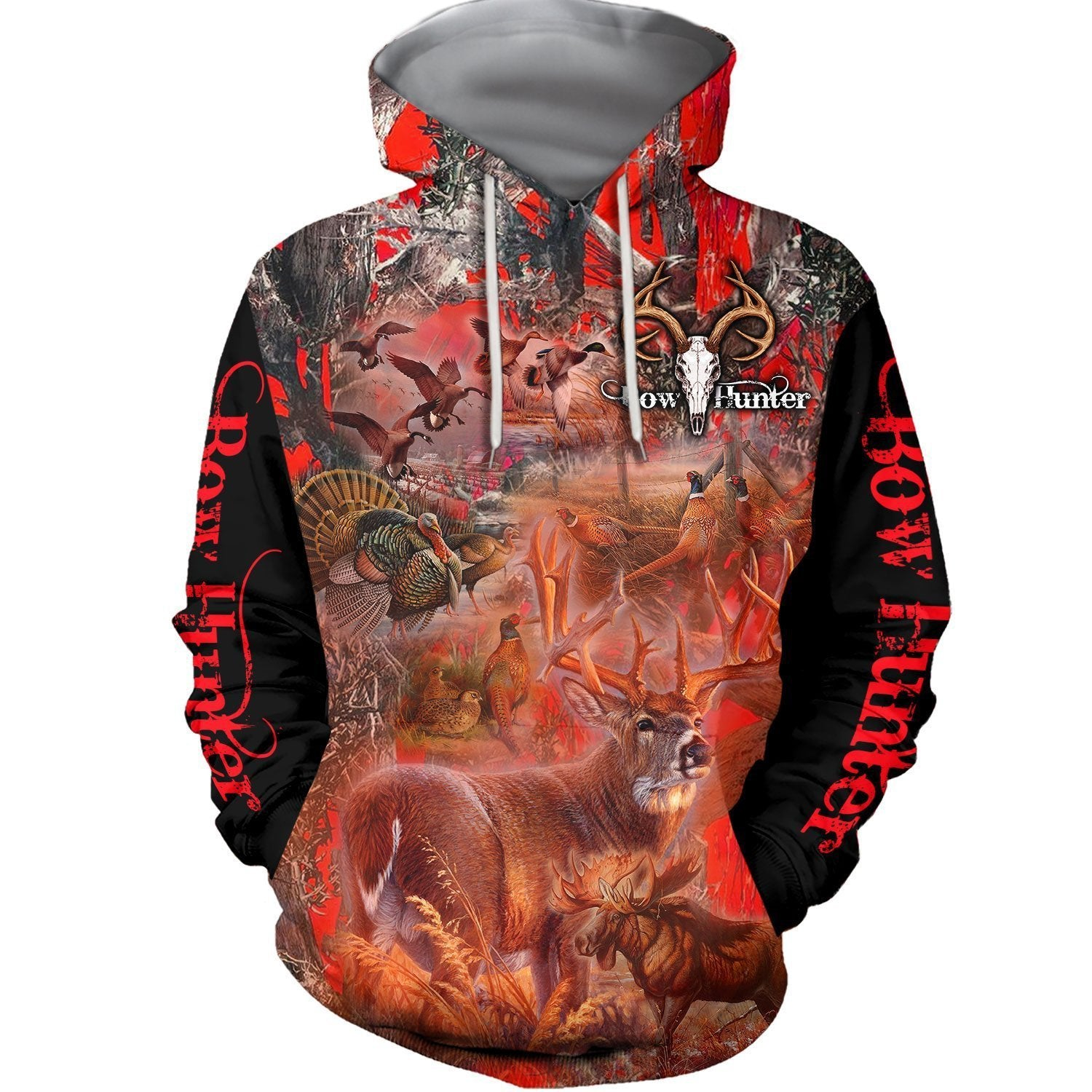 3D All Over Printed Beautiful Red Camo Hunting Hoodie - Amaze Style™-Apparel