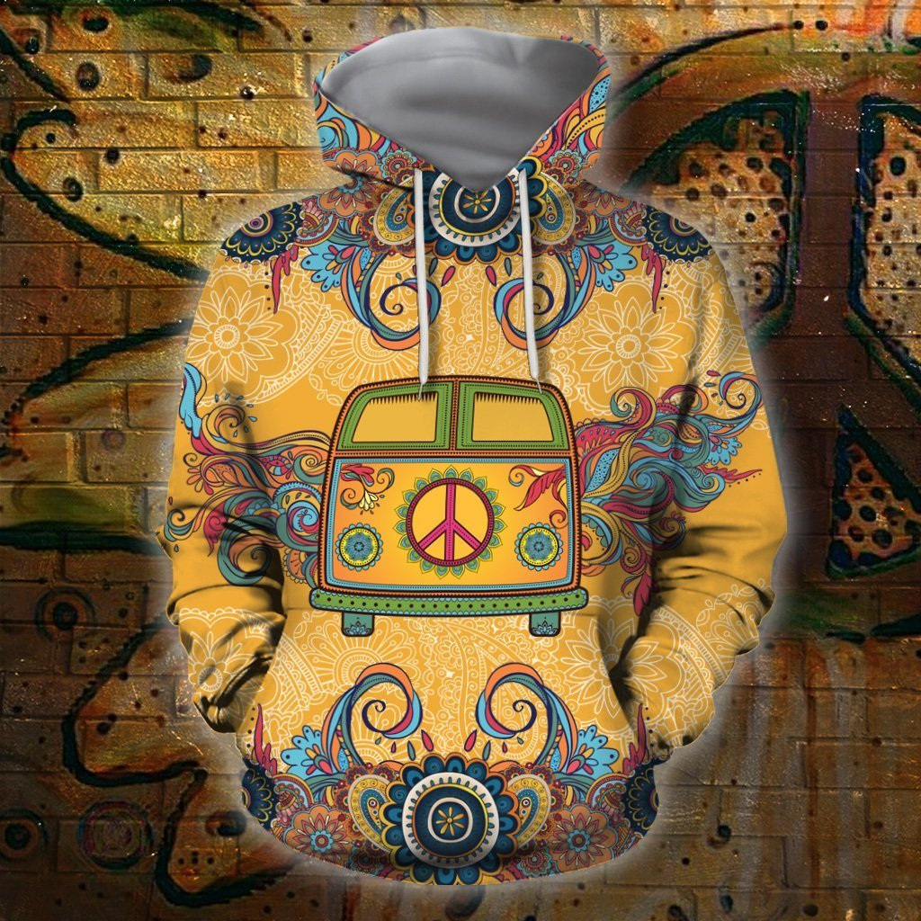 3D All Over Print Bus Hippie Hoodie - Amaze Style™-Apparel