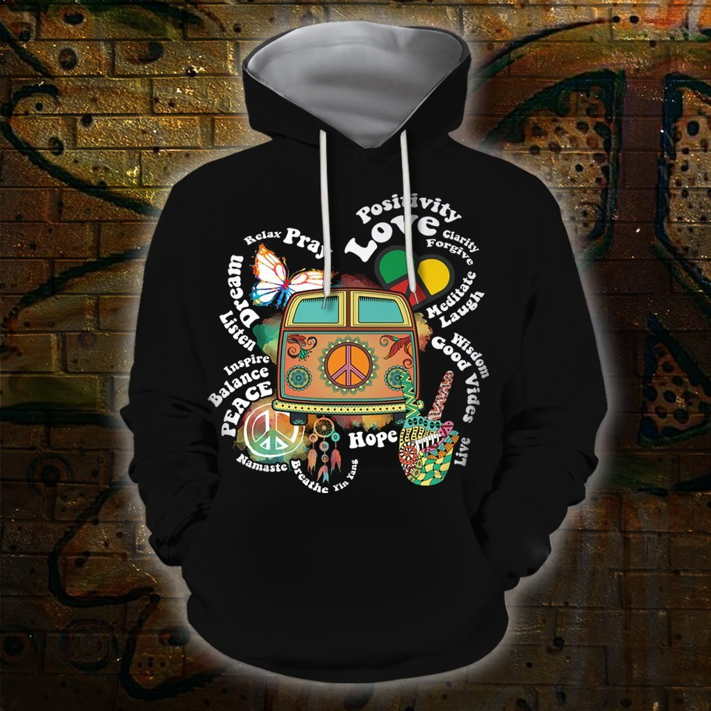 3D All Over Print Hippie Quotes Hoodie - Amaze Style™