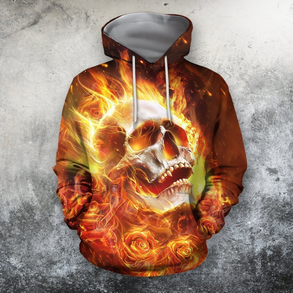 3D All Over Printing Skull Fire Hoodie - Amaze Style™-Apparel