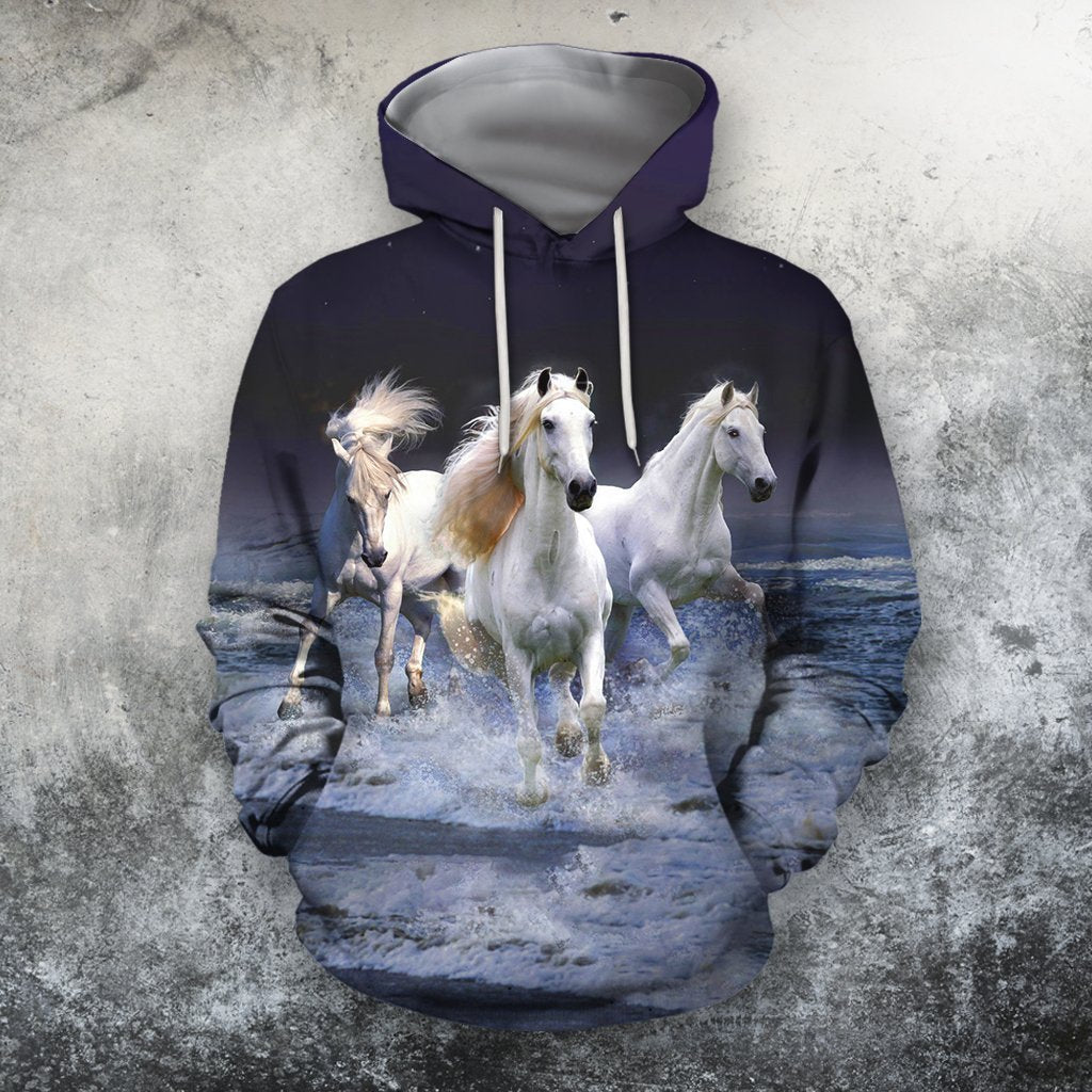 3D All Over Printing  White Horse Shirt - Amaze Style™