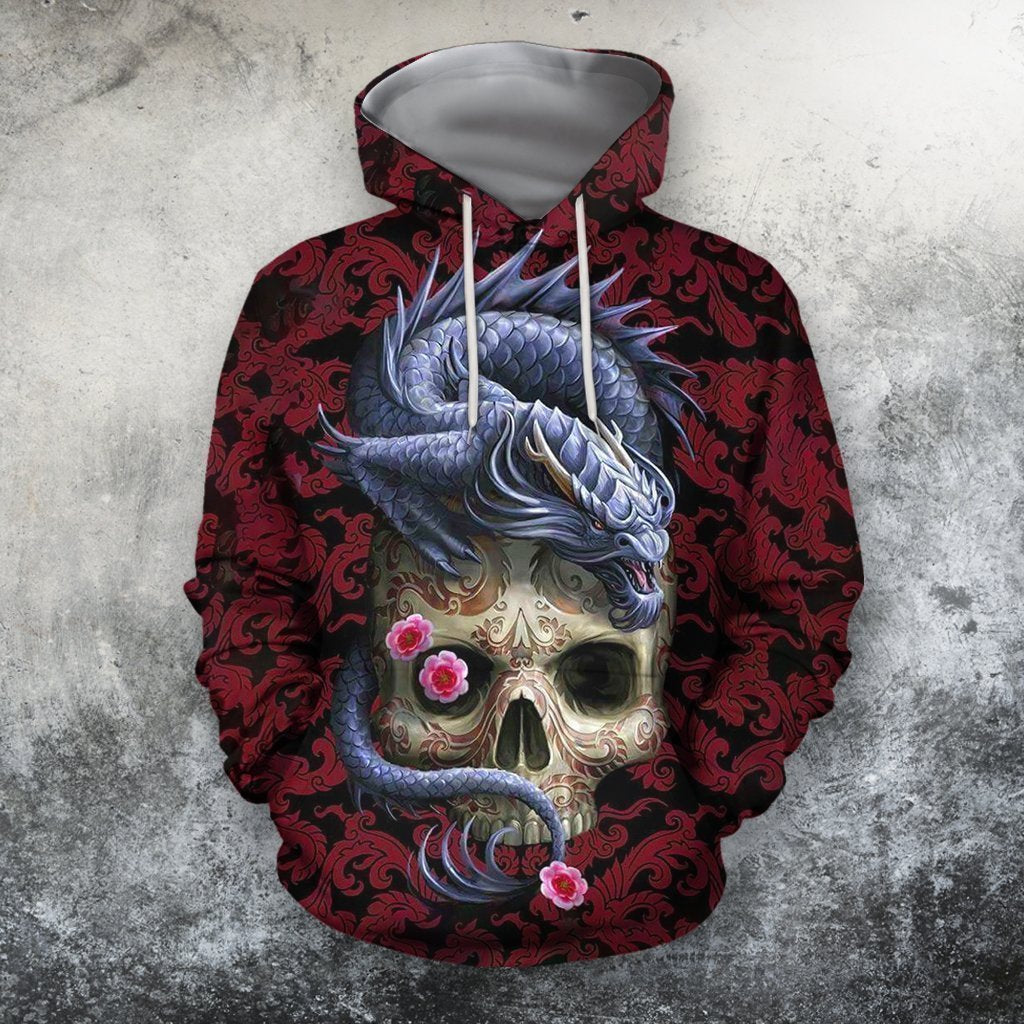 3D All Over Printing Skull With Dragon Shirts - Amaze Style™