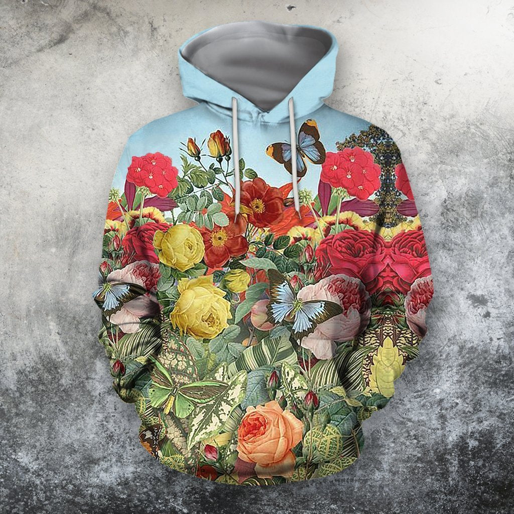 All Over Printing Butterfly Garden Hoodie - Amaze Style™-Apparel