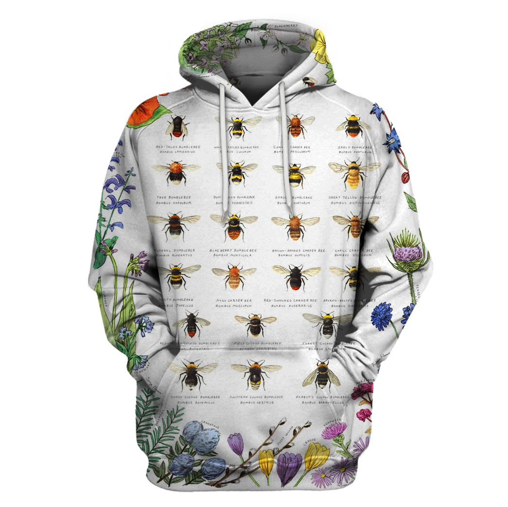3D All Over Print Bees Hoodie - Amaze Style™-Apparel