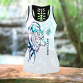Combo Paua shell wolf tattoo tank top & leggings outfit for women - Amaze Style™-Apparel