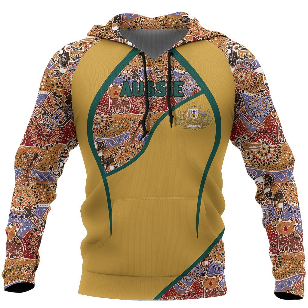 Aussie- Australia Aboriginal Hoodie Coat Of Arms Map NNK 1416 - Amaze Style™-Apparel