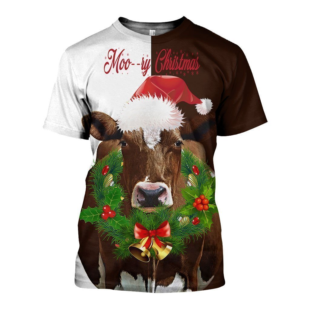 3D All Over Printed Dairy Cow Christmas art Shirts - Amaze Style™