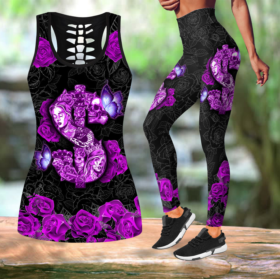 Combo Money Skull Rose tanktop & legging outfit for women - Amaze Style™-Apparel