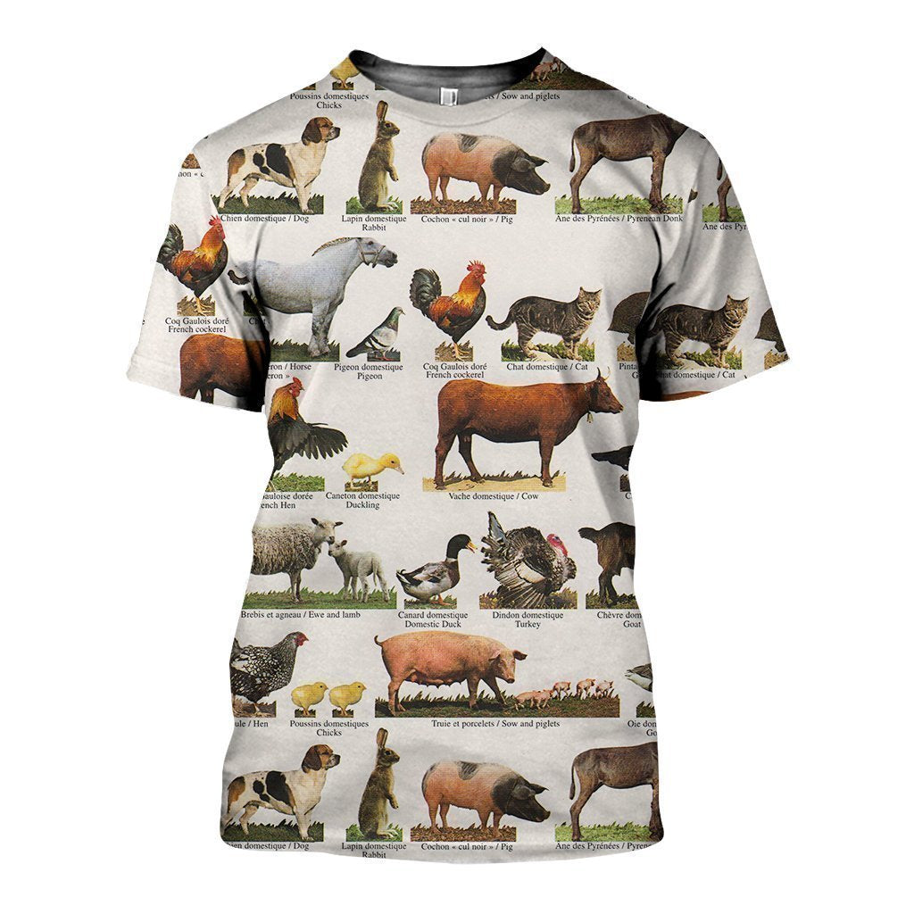 3D All Over Printed Farm Animals Shirts - Amaze Style™-Apparel
