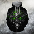 3D All Over Print skull dragon skeleton wings sword Hoodie - Amaze Style™