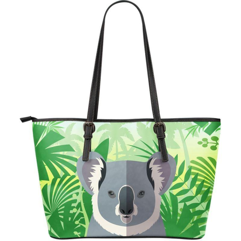 AUSTRALIA KOALA ON THE JUNGLE LARGE LEATHER TOTE BAG K5 - Amaze Style™