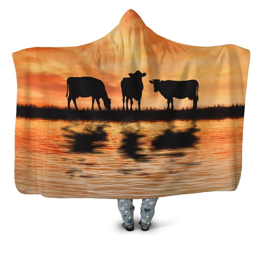 Sunset and Cow Hoodie Blanket - Amaze Style™-Apparel