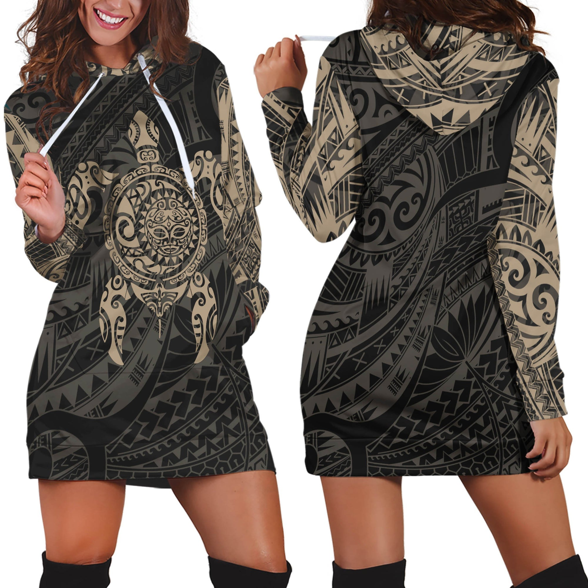 3D All Over Turtle Maori Tattoo Hoodie Dress Gold - Amaze Style™-Apparel