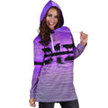 Sunset and Cow Violet Backgroud Hoodie Dress - Amaze Style™-Apparel