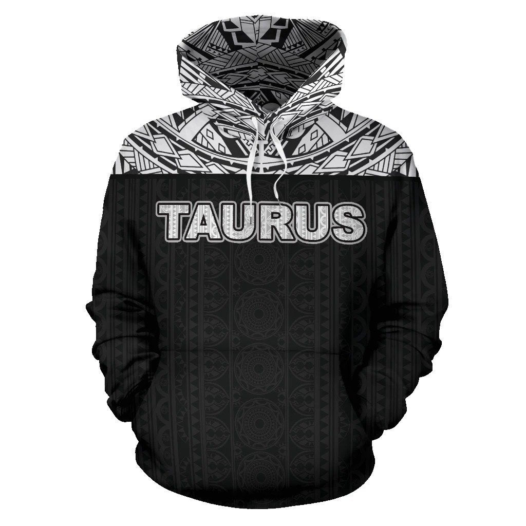 Taurus Zodiac - Poly All Over Hoodie Black Version NTH140834 - Amaze Style™-Apparel