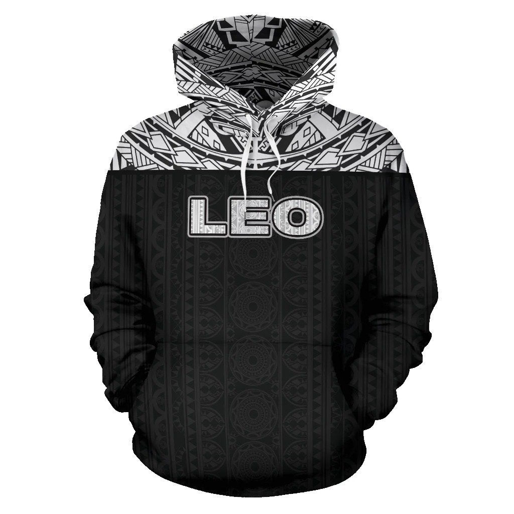 Leo Zodiac - Poly All Over Hoodie Black Version  NTH140836 - Amaze Style™-Apparel