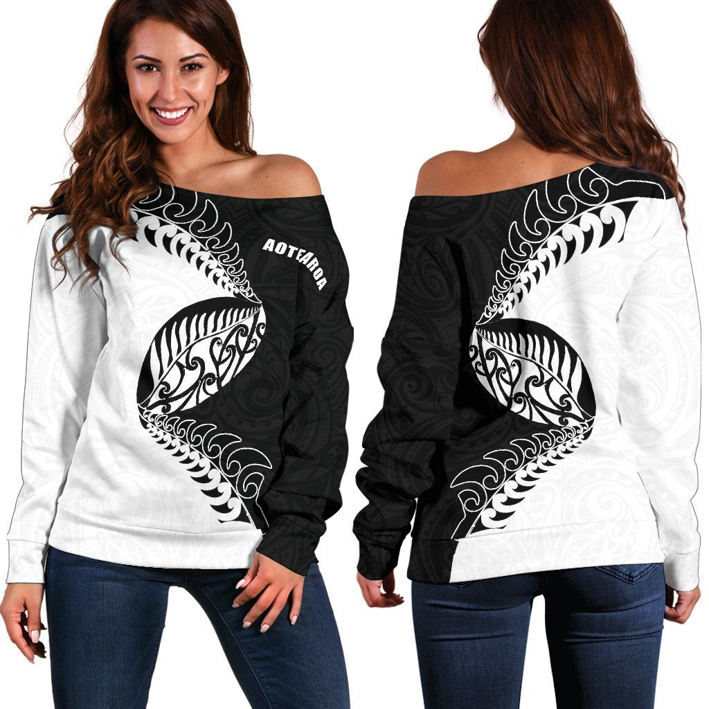 Aotearoa Rugby Fern Off Shoulder Sweater Black White K4 - Amaze Style™-WOMENS OFF SHOULDER SWEATERS