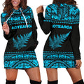 Aotearoa Silver Fern Hoodie Dress Blue - Amaze Style™-Apparel