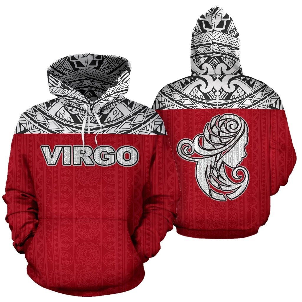 Virgo Zodiac - Poly All Over Hoodie Red Version  NTH140821 - Amaze Style™-Apparel