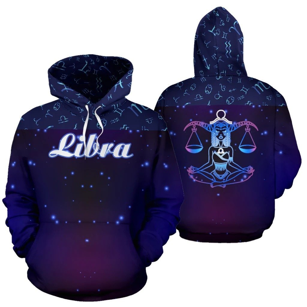 Libra Zodiac All Over Hoodie NTH140827 - Amaze Style™-Apparel