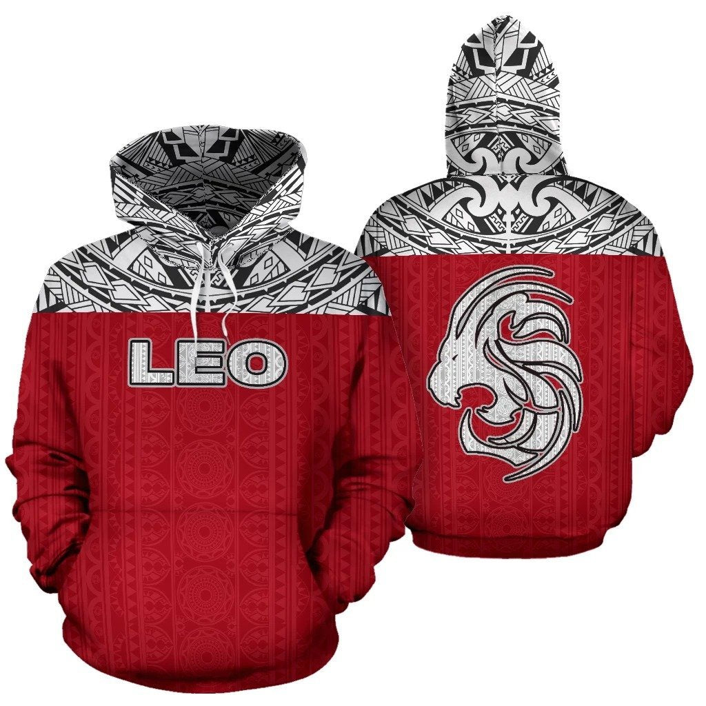 Leo Zodiac - Poly All Over Hoodie Red Version  NTH140844 - Amaze Style™-Apparel