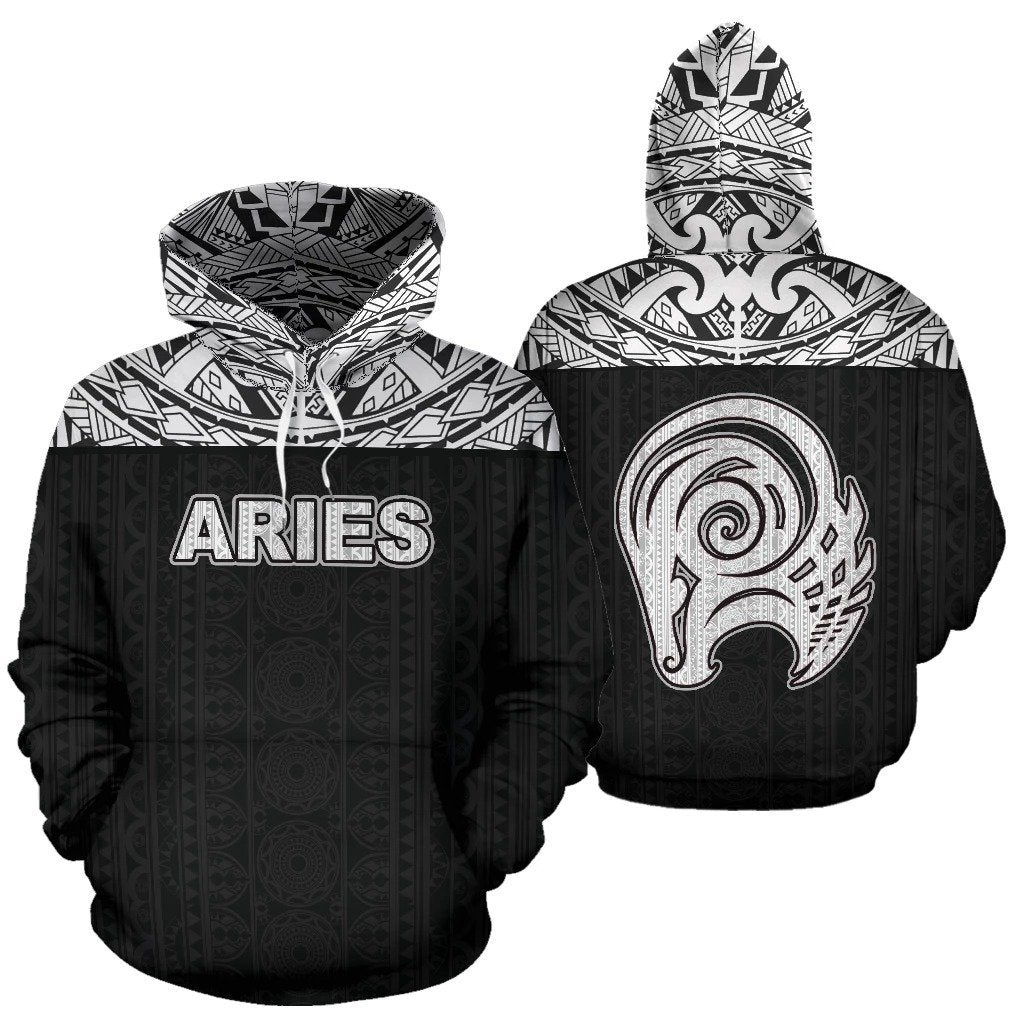 Aries Zodiac - Poly All Over Hoodie Black Version NTH140852 - Amaze Style™-Apparel