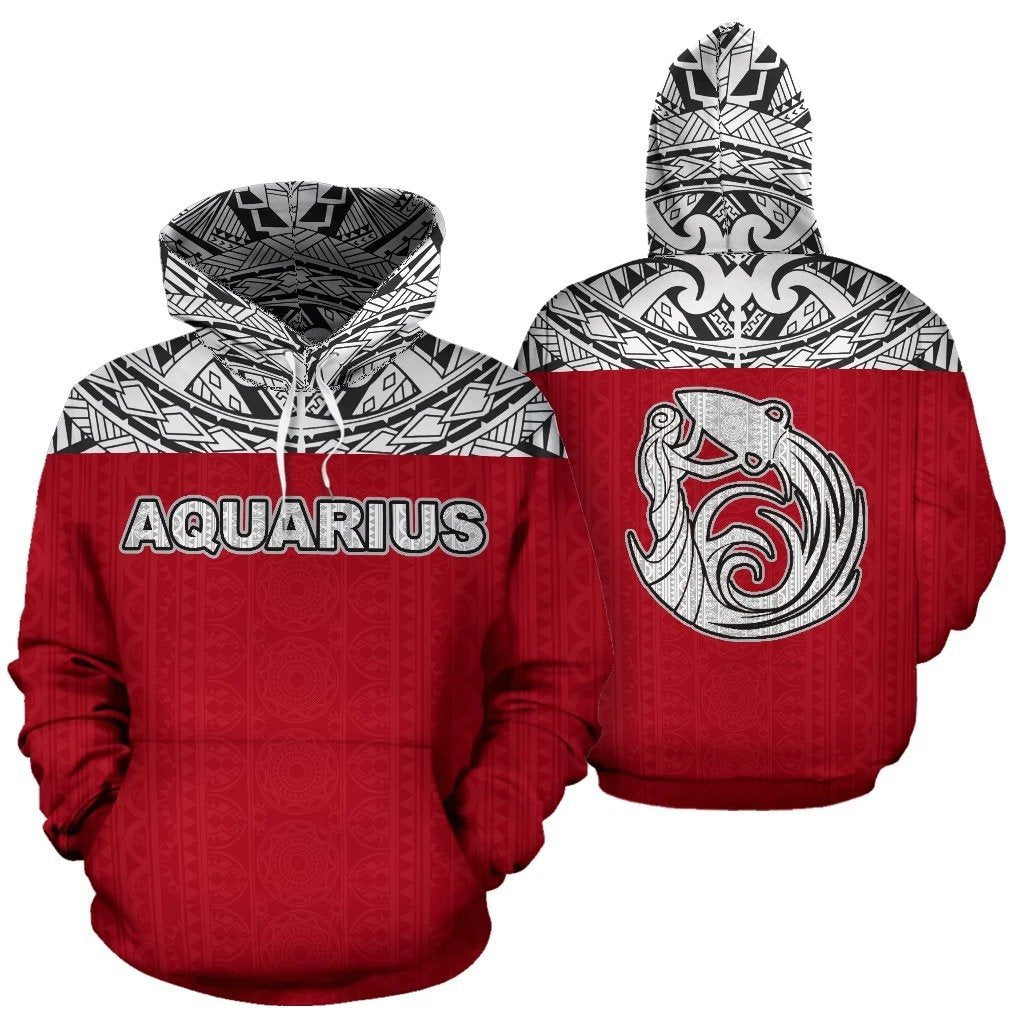 Aquarius Zodiac- Poly All Over Hoodie Red Version NTH140851 - Amaze Style™-Apparel