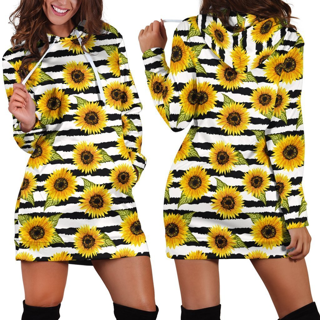 All Over Printing Yellow Sunflower Hoodie Dress - Amaze Style™-Apparel