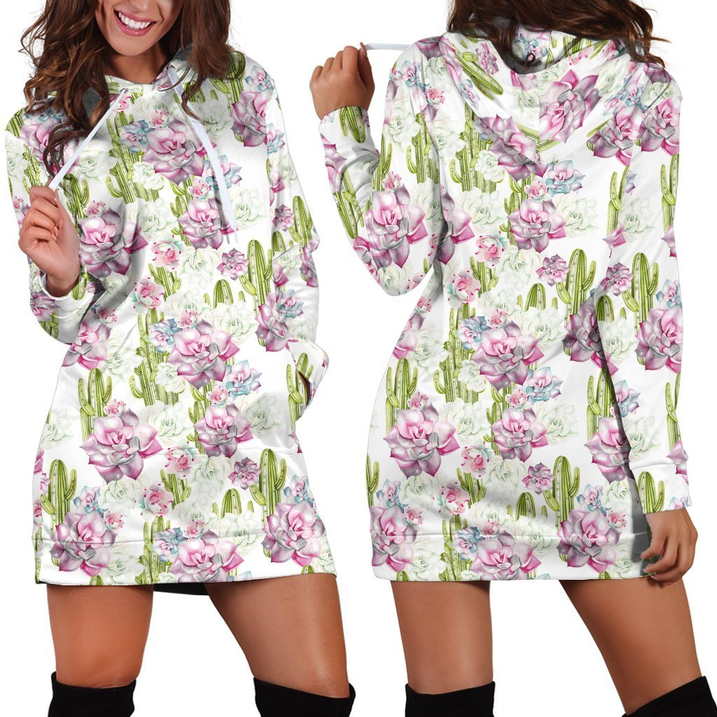 All Over Printing Cactus Have violet Flower Hoodie Dress - Amaze Style™-Apparel