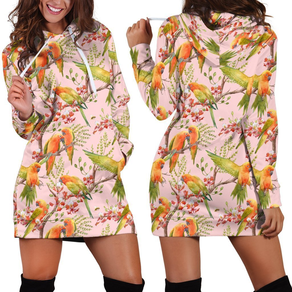 All Over Printing Sun Conure Parrot Hoodie Dress - Amaze Style™-Apparel
