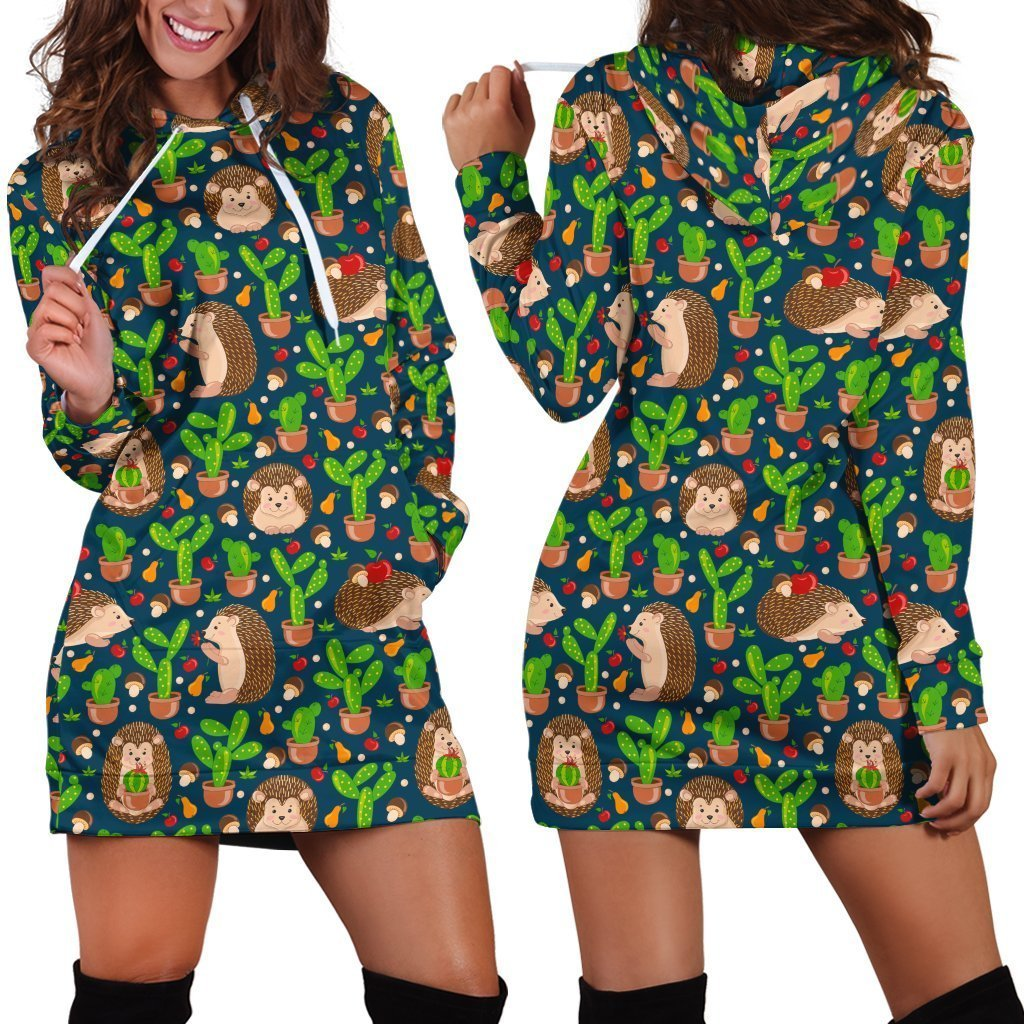 3D All Over Printing Scarlet Hedgehog And Cactus Hoodie Dress - Amaze Style™-Apparel
