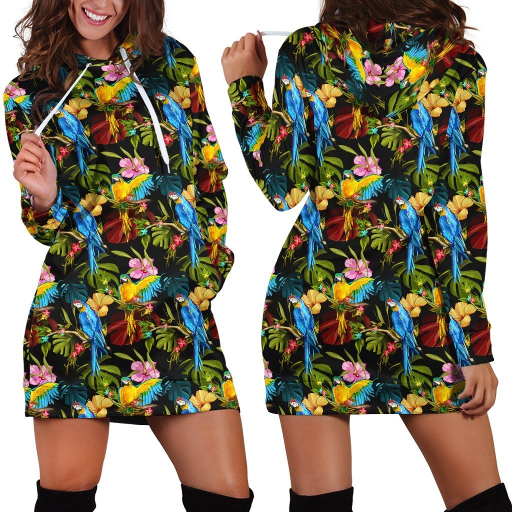 All Over Printing Parrot Hoodie Dress - Amaze Style™-Apparel