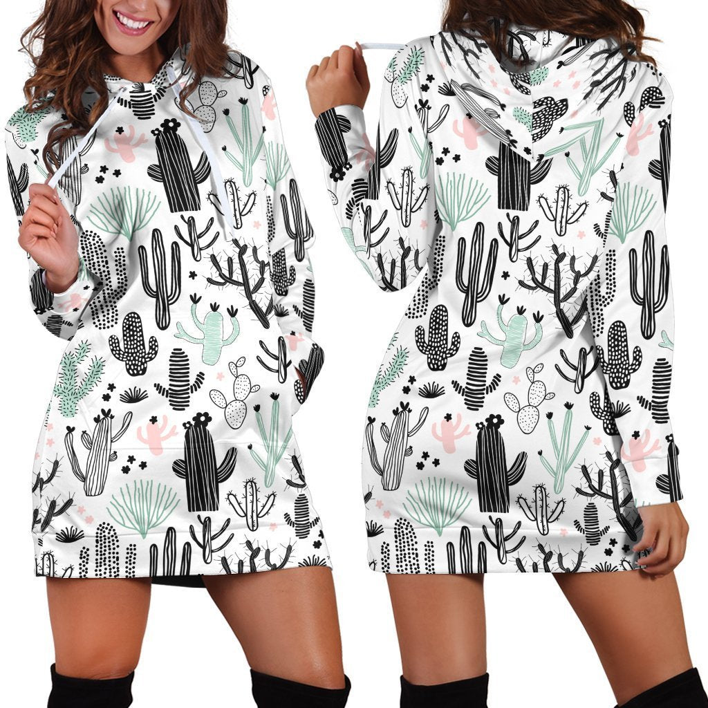 All Over Printing Many Cactus Hoodie Dress - Amaze Style™-Apparel