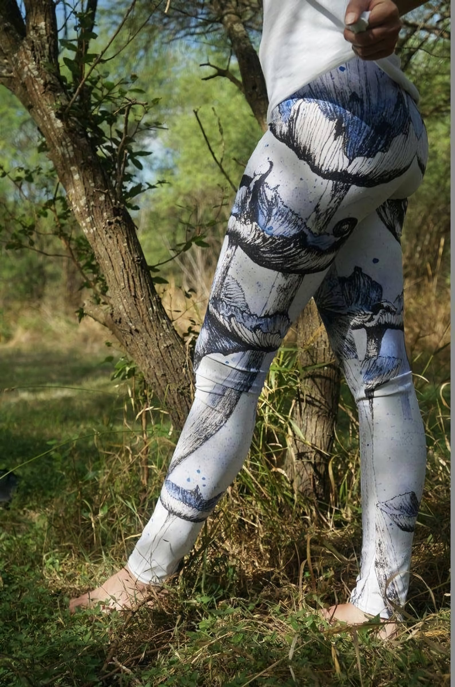 3D All Over Print Blue Mushroom drawings Legging - Amaze Style™-Apparel