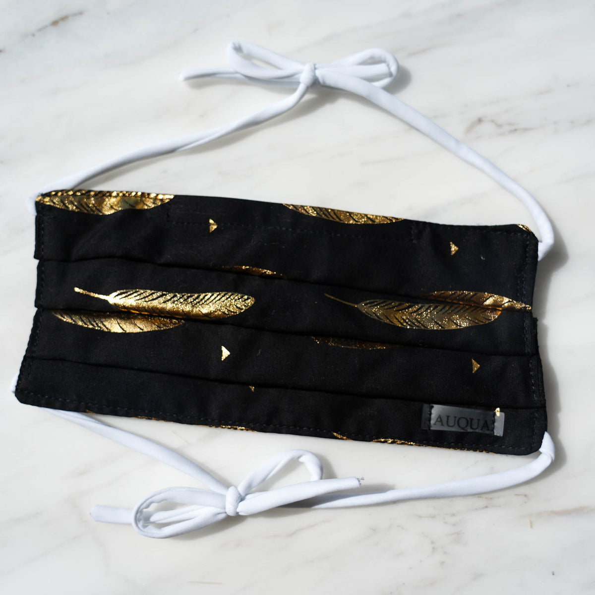 Protective Face Mask - Black and Gold Leaf