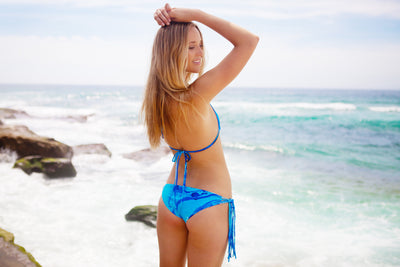 """Isabella"" Tie Up Reversible Bikini [Ocean Rush / Indian Summer White]"