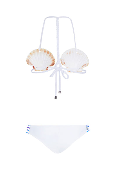 "Clam Shell Brakini ""Lily"" in [Indian Summer White]"