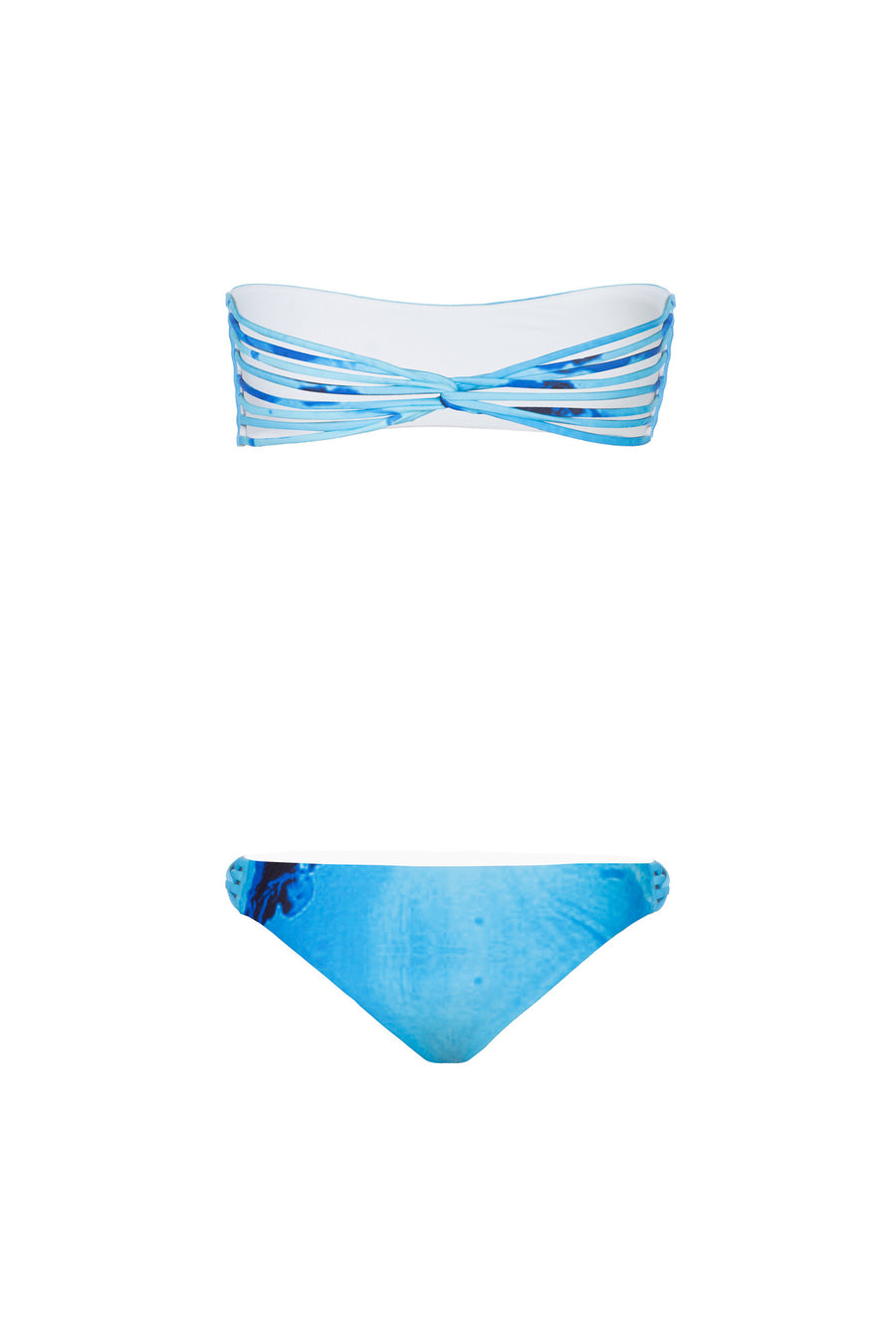 """Giselle"" Bandeau Reversible Bikini [Ocean Rush / Indian Summer White]"