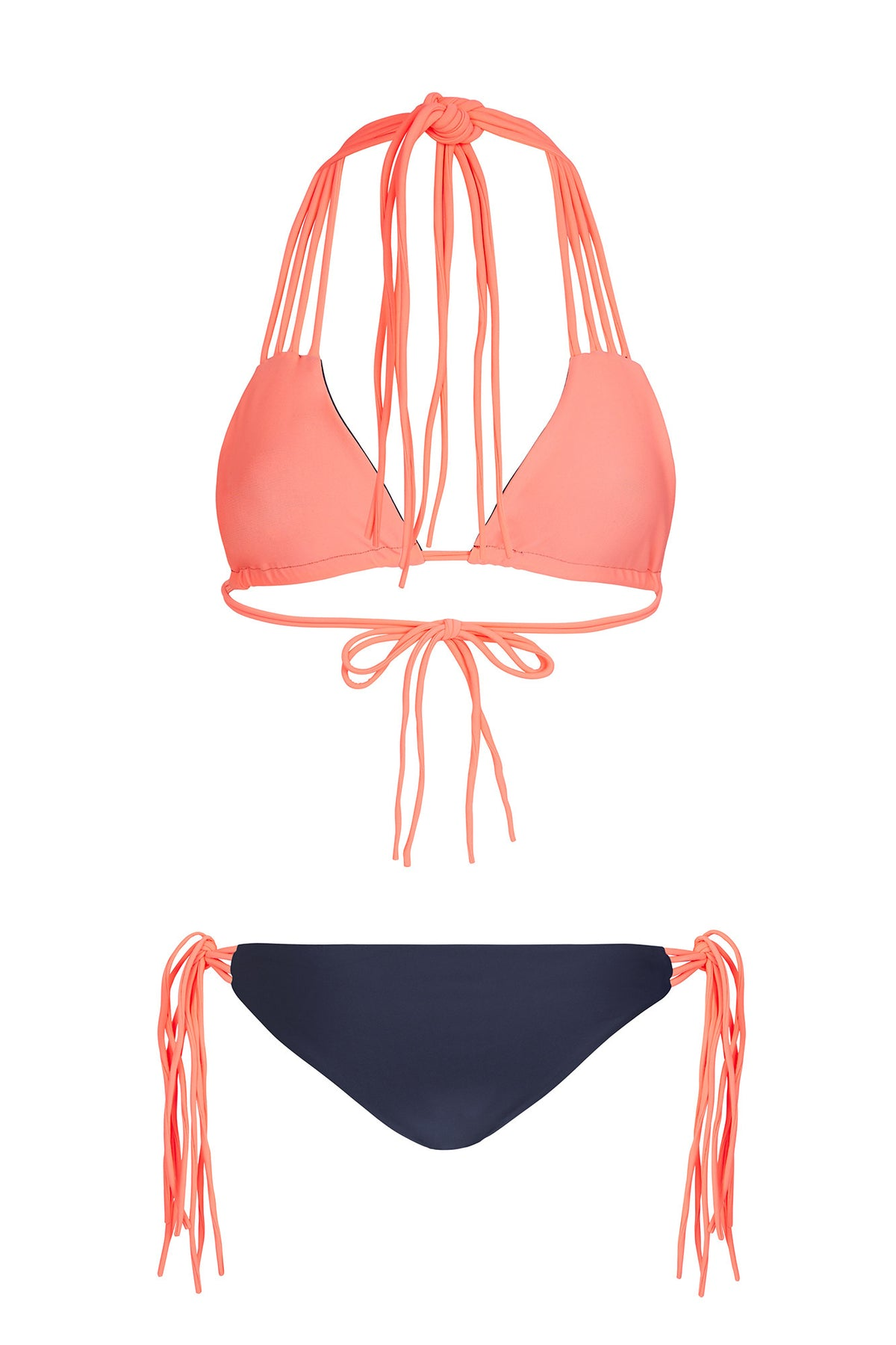 """Isabella"" Tie Up Reversible Bikini [Navy Seal / Puerto Rico Peach]"