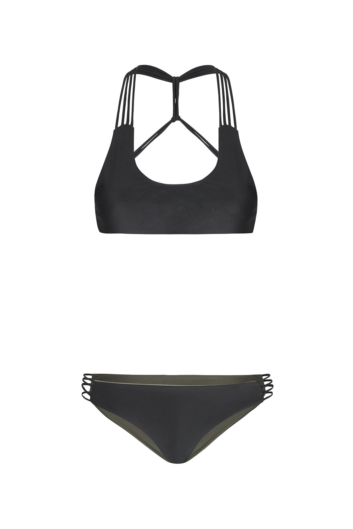 """Tyra"" T-Back Reversible Bikini [Barcelona Black / Canadian Khaki]"