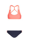 """Tyra"" T-Back Reversible Bikini [Navy Seal / Puerto Rico Peach]"